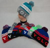 Knit Hat with PomPom [YOLO]